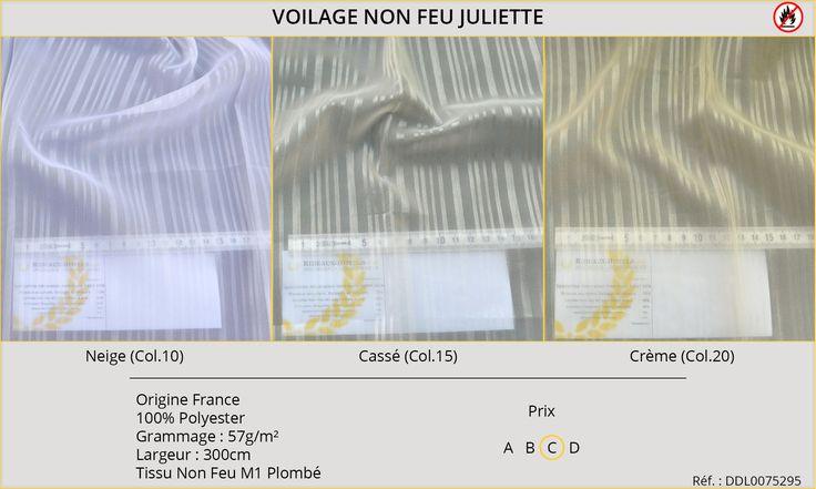 Rideaux-Hôtels voilage non feu M1 Juliette