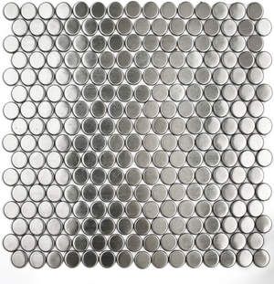 Awesome Stainless Steel Penny Tile Backsplash. Love It. Would Look Good With A Dot  In
