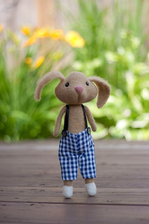Needle Felted Rabbit Doll  Rupert by MiloandBen on Etsy, $70.00