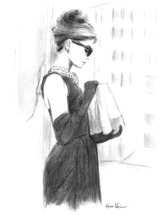 Audrey Hepburn Breakfast at Tiffany's – Charcoal Pencil Drawing – Black and White