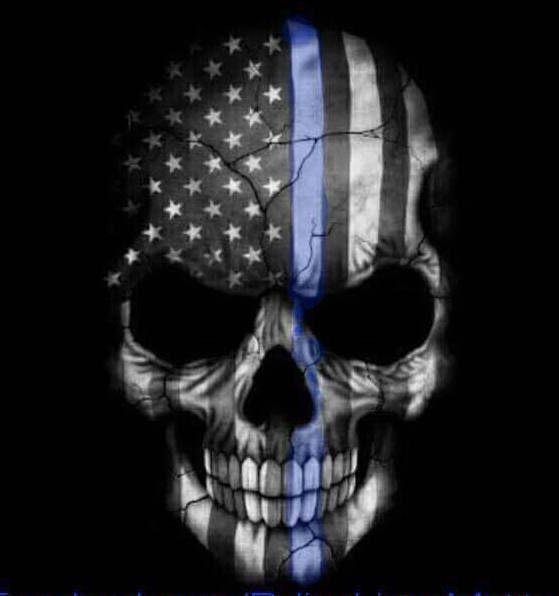 THIN BLUE LINE skull | Badass Stuff | Skull, Skull art ...