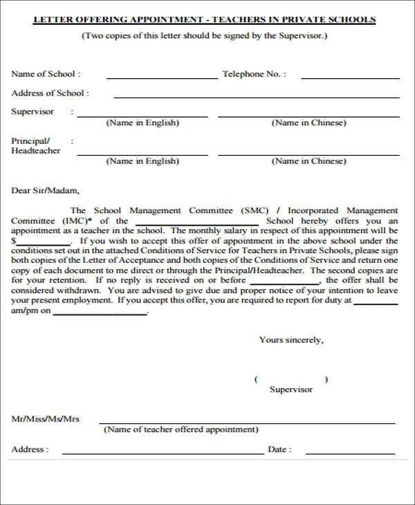 free sample appointment letters for teachers template tear off - letter of appointment