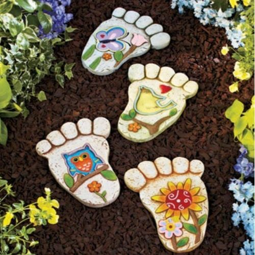 26 Fabulous Garden Decorating Ideas With Rocks And Stones: New 4 Set Garden Steppingstones Footprints Decorative