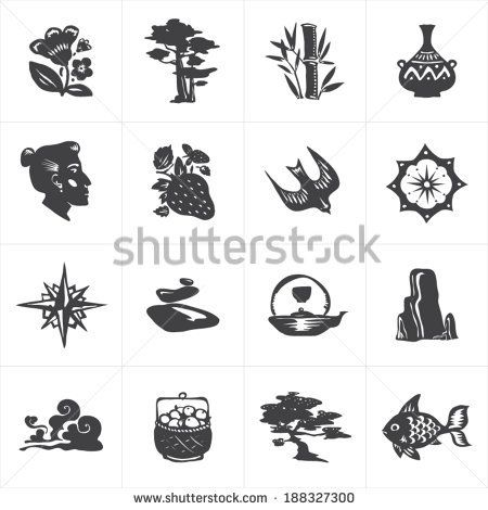 Set of hand-drawn icons for beauty shops and yoga. Logo template. - stock vector