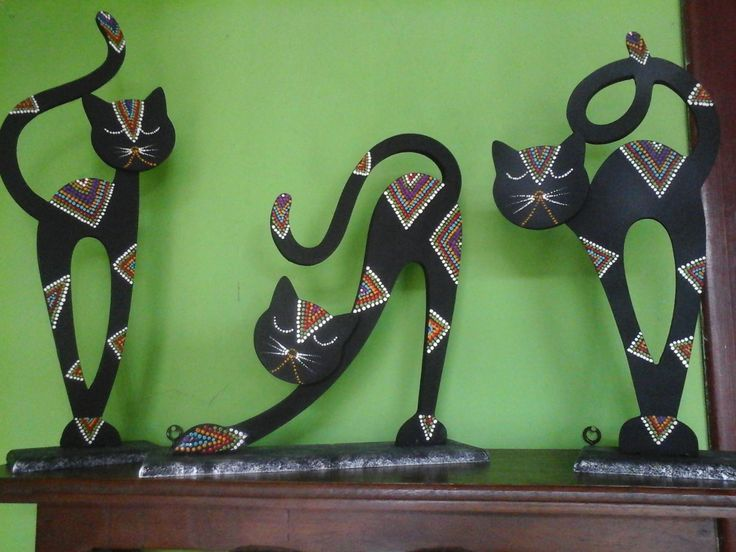 gatos pintados en madera - Buscar con Google
