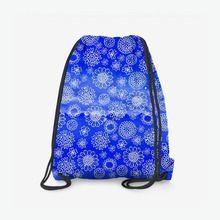 Рюкзак «белое на голубом. цветочный паттерн »