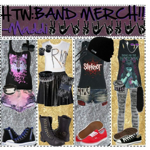 Band merch outfits- not a huge fan of the bands but good idea.