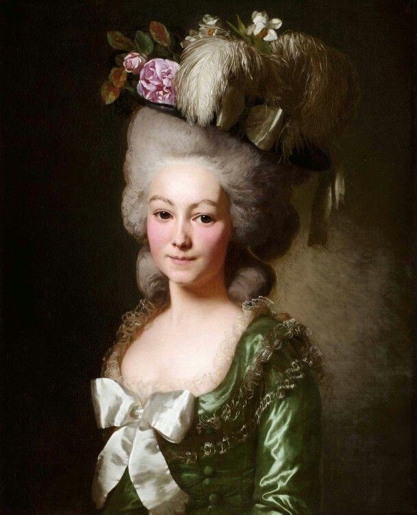 Marie-Emilie-Louise-Victoire de Coutance, dame de la Bouvardière, de la Haute et Basse Indre, marquise de Bec-de-Lièvre, 1780 Alexander Roslin. Elle épousa le le 18 juillet 1773 Hilarion-Anne-François-Philippe, marquis de Bec-de-Lièvre, seigneur d'Avaugour, la Seilleraye, le Gruménil, la Bouvardière, conseiller du roi en tous ses conseils, premier président de la chambre de Bretagne. Ils eurent comme enfants: Hilarion-Louis, mort à sept ans ;Anne-Christophe, tué au service du roi dans la…