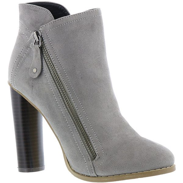 Michael Antonio Piper Women's Grey Boot ($59) ❤ liked on Polyvore featuring shoes, boots, ankle booties, grey, short boots, ankle boots, gray bootie, high heel booties and gray booties
