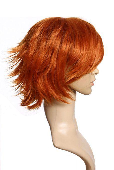 Cosplayland - C178 Parrucca a strati rosso arancione capelli corti punte all'insù resistente al calore   In mio possesso