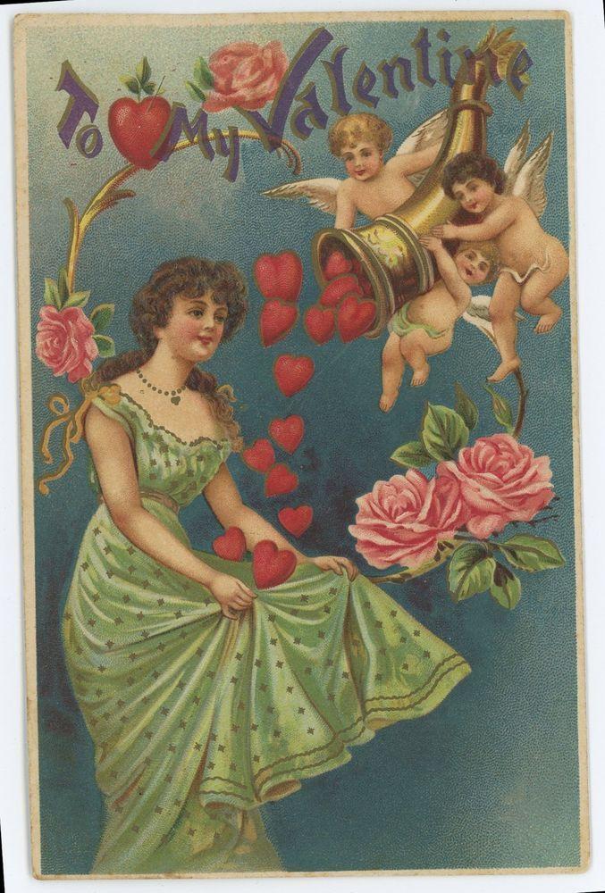 To My Valentine, Cupids, Cherubs, Art Nouveau Valentine's Day Vintage Postcard #ValentinesDay