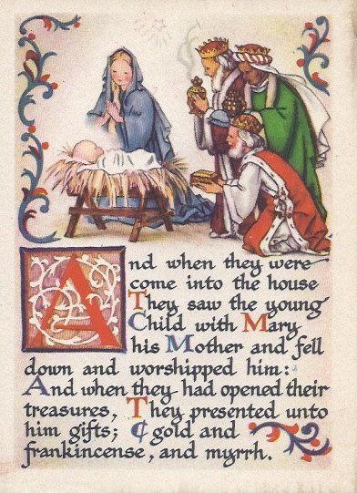 Vintage Unused Christmas. Melchor, Gaspar y Baltasar, entregan al Niño Dios sus presentes.