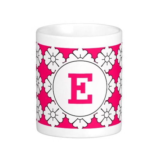 Personalized monogram mugs. Change the text to any font and color you wish. You can also substitute it with your full name. The design (in white with black outline) is tileable (you can scale it up or down to customize it). The background (in fuschia in the preview) can be changed to any color you like. If you only like the pattern, you can remove the frame and text.