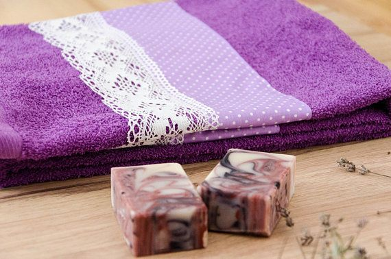 Decorative Bath Towel Lavender Towel Handmade Decorated Purple Towels Decorative Bath Towels Decorative Towels