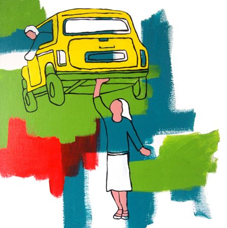 Hugh Ford Holding Up Traffic - 2013 Acrylic on canvas 47 x 47 cm $1750  Solo Show - 'Nostalgic For Now' 01/03/2014 - 12/04/2014