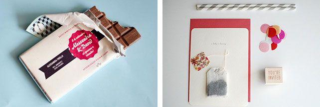 Вдохновение: 33 необычных приглашения, приглашение с шоколадкой, приглашение с пакетиком чая