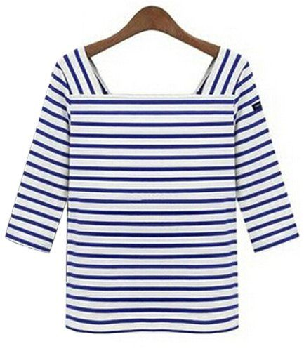 Chic Square Neck 3/4 Sleeve Striped T-Shirt For Women