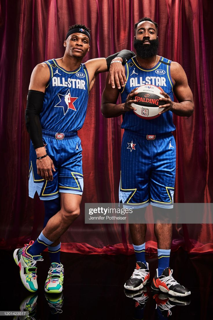 Russel Westbrook and James Harden of Team LeBron pose for