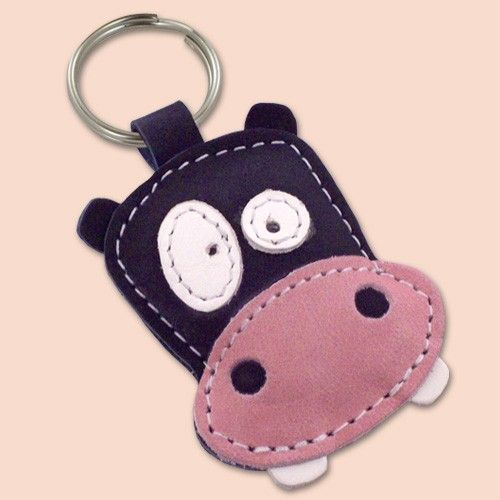 Cute Dark Blue Hippo Leather Animal Keychain by snis on Etsy