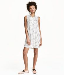 Sleeveless Shirt Dress   Natural white/checked   Women   H&M US