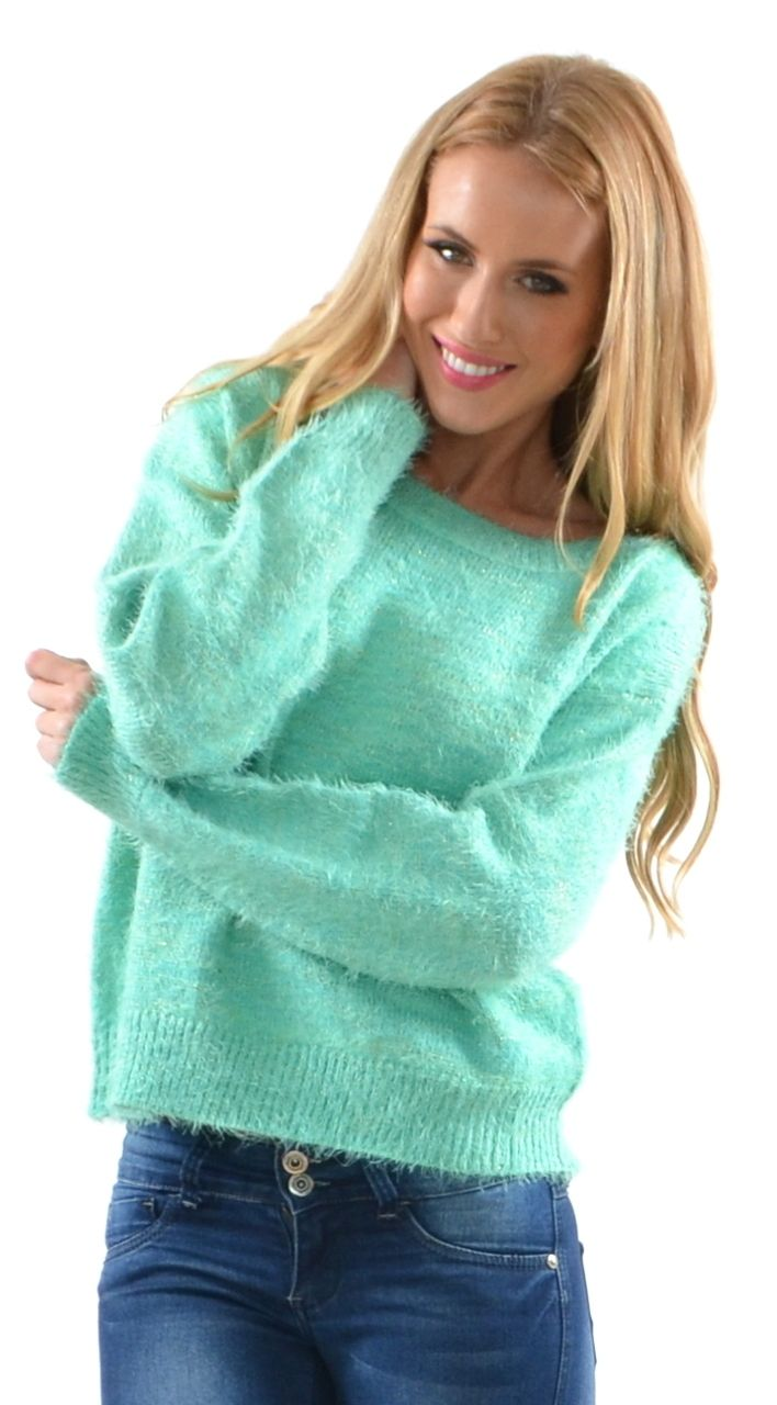Cozy and Stylish Ava Knit Emerald Sweater by Miss Holly