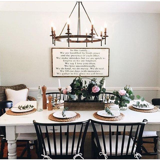 farmhouse table centerpiece, farmhouse dining room, formal ...