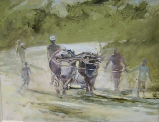 Mary Fowlds Ploughing the fields Oxen