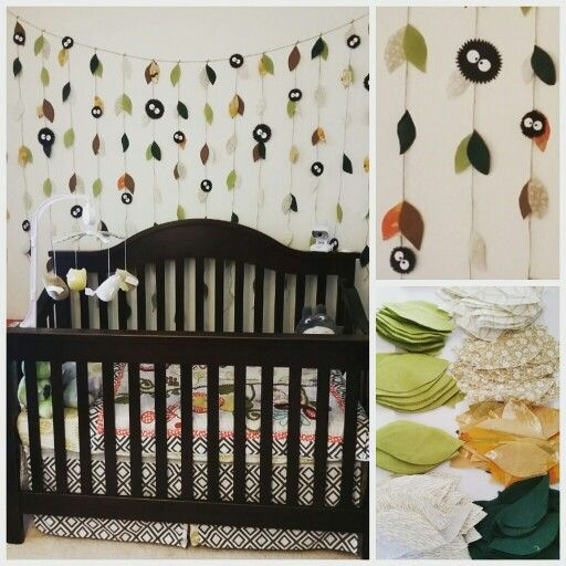 Part one of my Totoro Nursery.  Used old pillow cases, construction paper,  twine and hot glue.