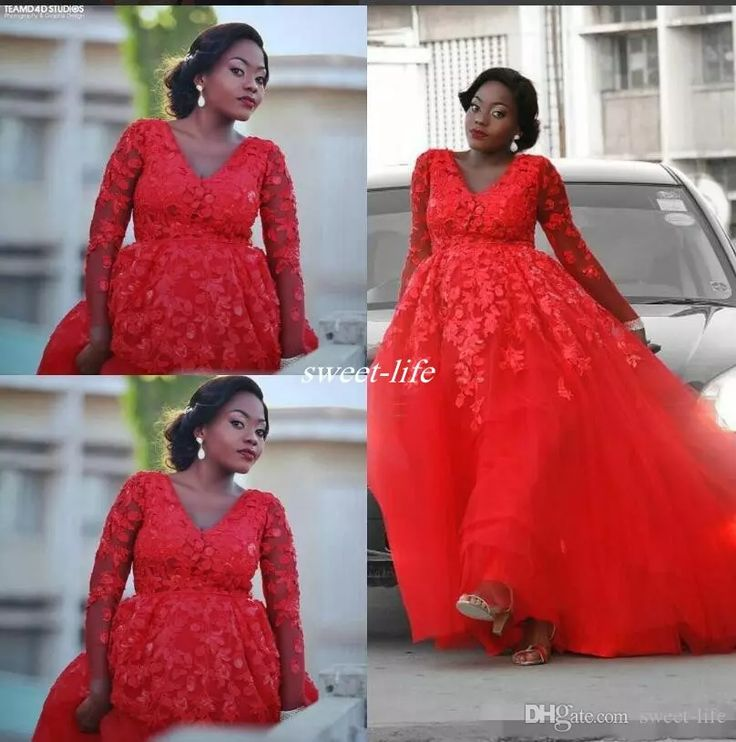 Plus Size Arabic Design Red Lace Applique Evening Dress V-neck Illusion Long Sleeves Tulle Prom Dresses Sexy Formal Party Gowns Prom Dresses Prom Dresses Plus Size Evening Gowns Online with $138.0/Piece on Sweet-life's Store | DHgate.com