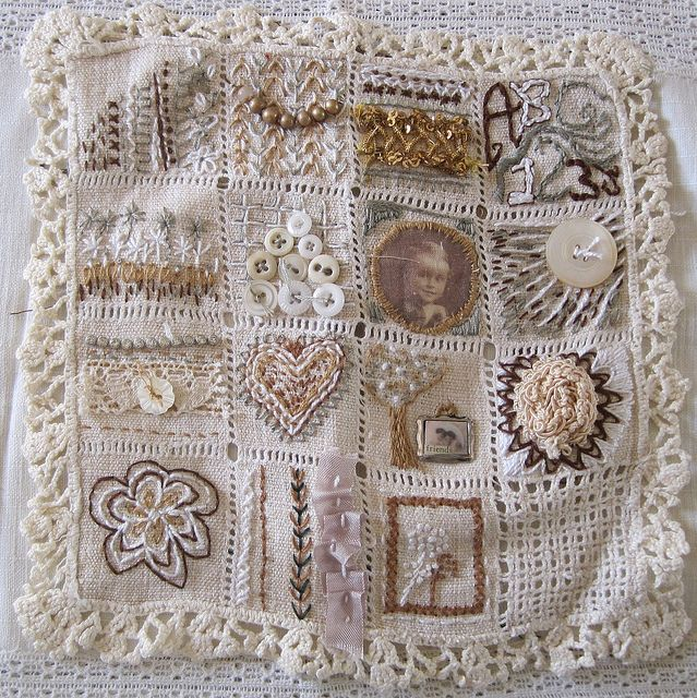 Love the muted colors this is all about texture, and SO INSPIRING. Mixed Media Stitching Sampler by bleintz, via Flickr