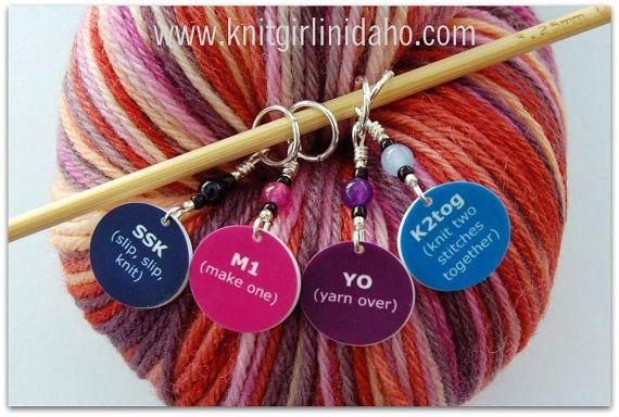 Knitting Stitch Markers SSK, K2tog, M1 and YO (Set of 4) Stitch markers, Kn...