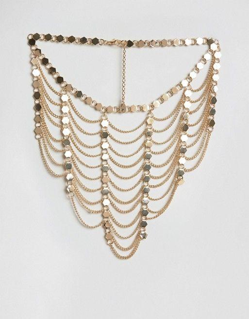 Ashiana   Многорядное ожерелье из драпированных цепочек Ashiana