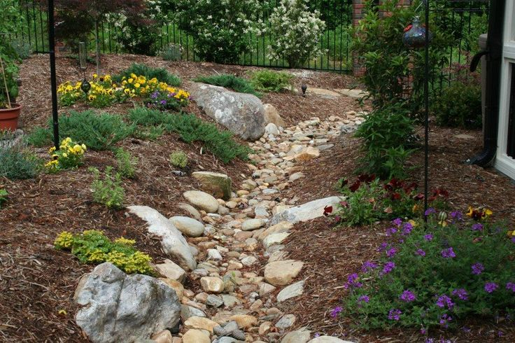 dry river bed from run off to rain garden