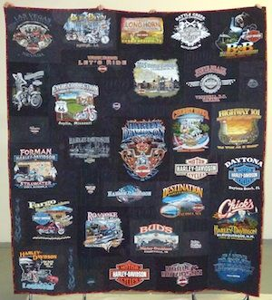 Photos of some of the coolest Harley Davidson T-shirt quilts you will find!