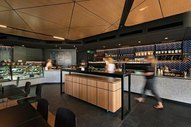 Koffee Ink Cafe at Adelaide Oval - featuring Key-Lena Tasmanian Oak on black MDF.