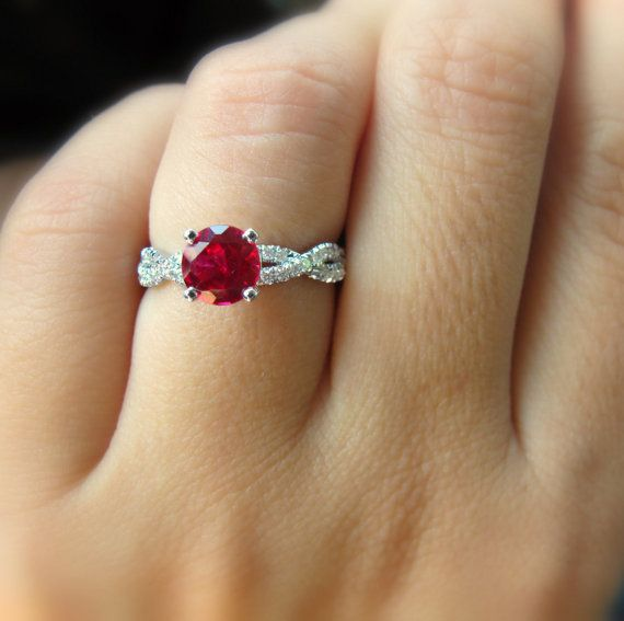 Dark Red Ruby Engagement Ring Infinity Knot by SillyShinyDiamonds
