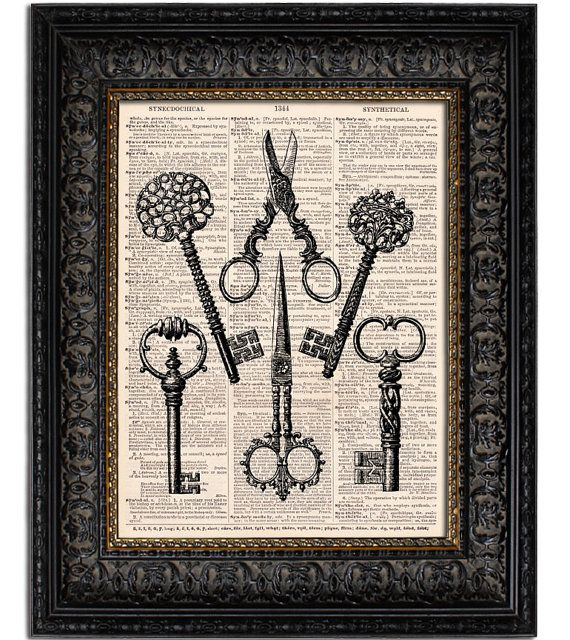 SKELETON KEYS & SCISSORS old skeleton keys vintage dictionary art print on antique dictionary page 8x10. $9,00, via Etsy.