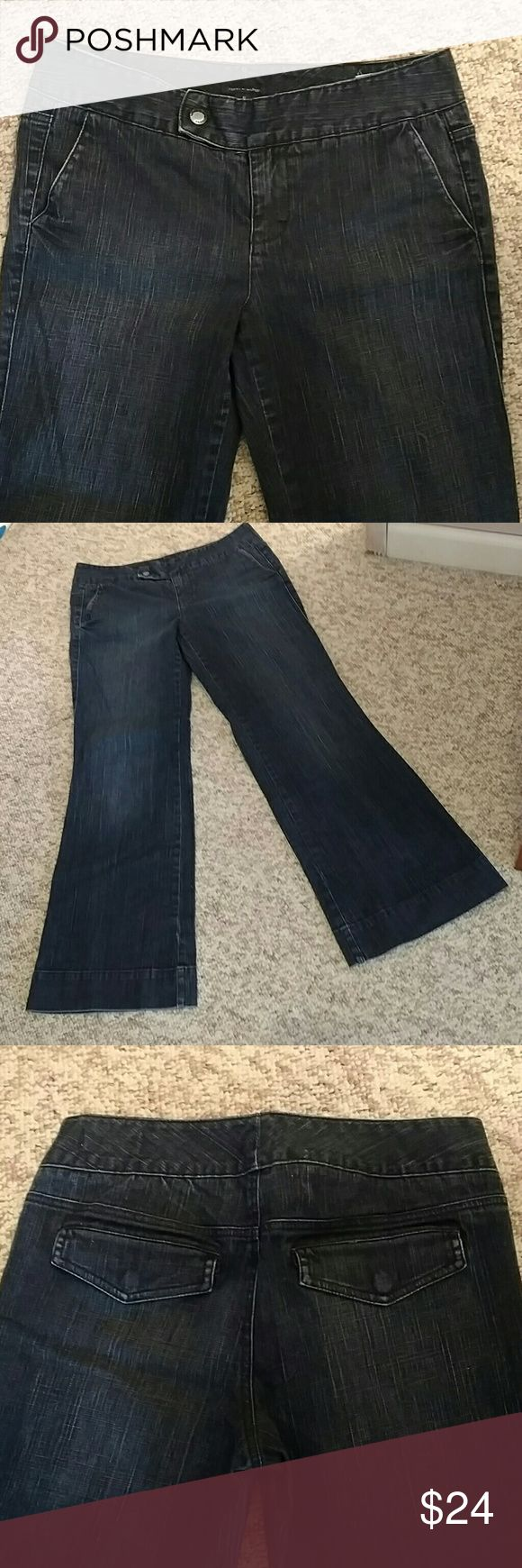 TOMMY HILFIGER JEANS AMERICAN SPLENDOR STYLE Design as Shown  Slight Flare Mid Rise  Great Condition !! Trouser Style Jeans Tommy Hilfiger Jeans Flare & Wide Leg