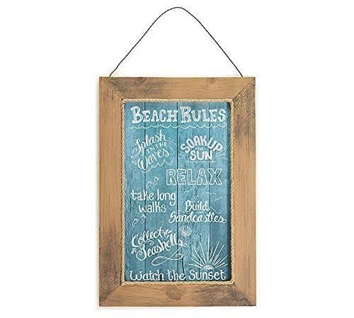 "Burton & Burton Wall Hanging Beach Rule 24"" H X 16 1/2"" W Wood Frame"