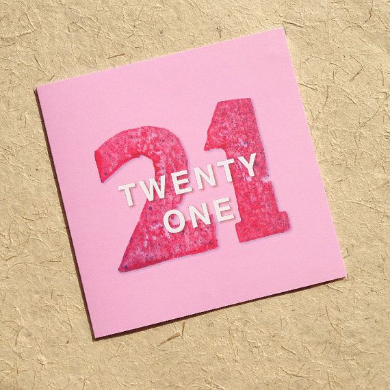 Pink Twenty One is from Luck & Judgement's 'Grown Up Numbers' range of greetings cards, designed to celebrate all those milestone birthdays in bright, bold and colourful st... #birthdaycard #21 #21st