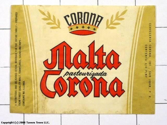Labels Malta Corona Cerveceria Corona Inc. San Juan Puerto Rico