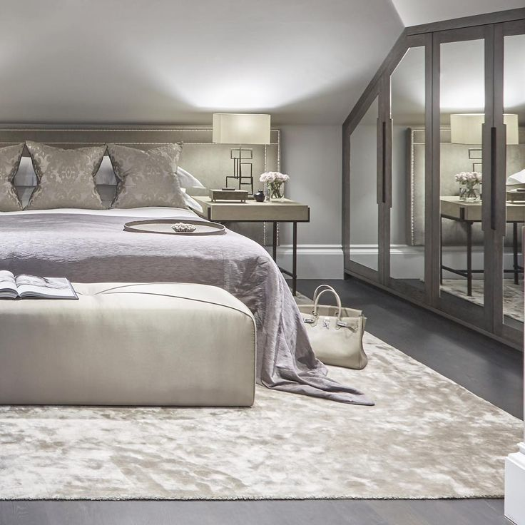 Contemporary Luxe Guest Bedroom In Shades Of Taupe And Purple #bedroom  #guestbedroom #luxuryinteriors