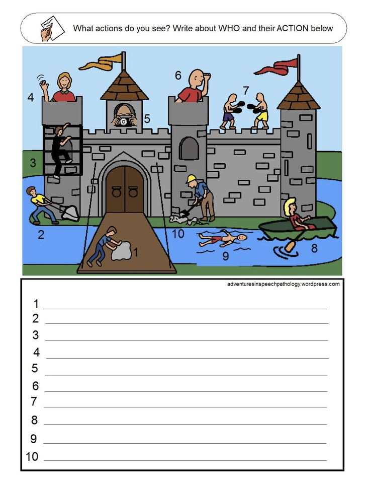 Subject + Verb Loaded Worksheets: Set 3 - also good for pronoun task. Adventures in Speech Pathology