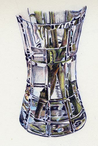 color pencil  glass vase    reflection