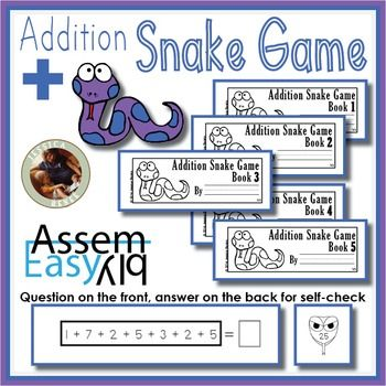Montessori Addition Snake Game Booklets** This resource is also available as part of my Snake Game Big Bundle **These are the easiest booklets you will ever make. This work is a fun way to practice addition facts with the Colored Bead Stair. The booklets are designed for children to write their answers directly into the booklet.