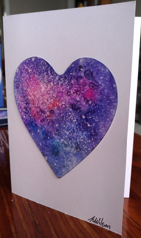 Watercolour painting Heart Galaxy    This greeting card is a hand painted and signed original painting not a print. For a truly unique card for someone special. They come with an envelope and wrapped in a cellophane bag. Blank in side so perfect for any occasion. | Shop this product here: http://spreesy.com/Goldstarwork/19 | Shop all of our products at http://spreesy.com/Goldstarwork    | Pinterest selling powered by Spreesy.com