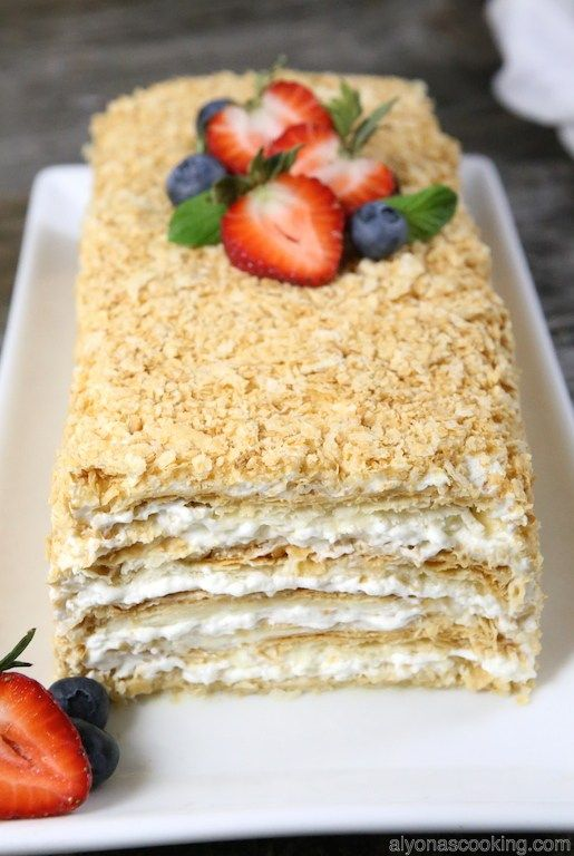 Puff pastry sheets are soaked and then covered in a delicious cream frosting and topped with puff pastry crumbs creating one easy, yet superior tasting cake.