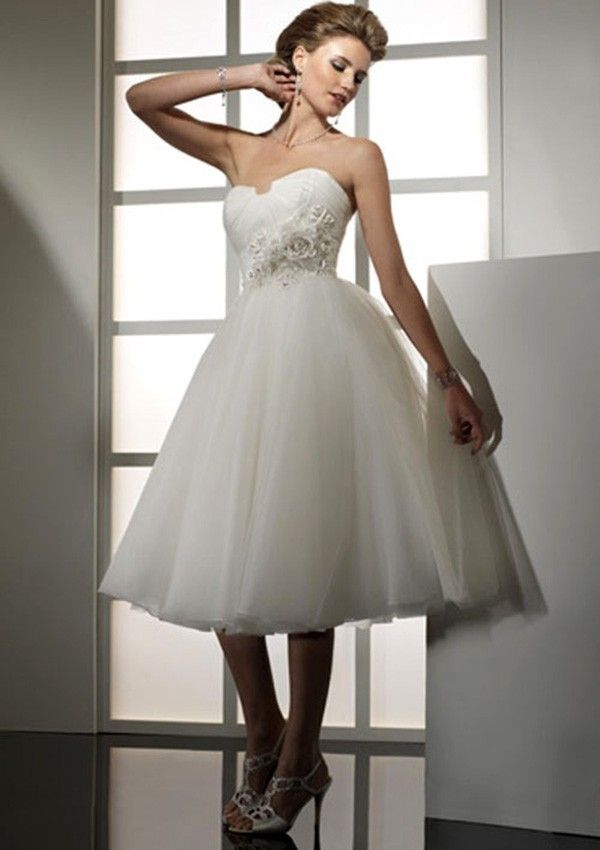 Ball Gown Skirt Strapless Ivory Net Skirt Short Knee-Length Wedding Dresses