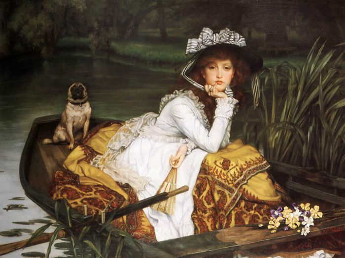 I love paintings that can tell a story!  What is she thinking? Why is she on that boat along?  What's the dogs name and purpose?  Who gave her those flowers?  What story does this painting tell you?