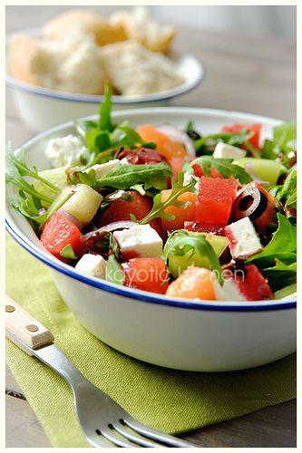 Arugula Melon Feta Onion Black Olive Salad